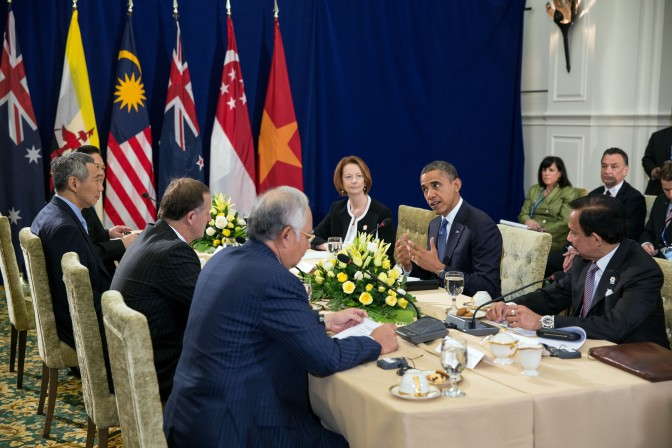 President Barack Obama attends the Trans-Pacific Partnership (TPP) meeting at the ASEAN Summit at Peace Palace in Phnom Penh, Cambodia, Nov. 20, 2012. Taking part in the meeting, clockwise from  the President, are; Sultan of Brunei Hassanal Bolkiah; Prime Minister Mohammed Najib Abdul Razak of Malaysia; Prime Minister John Key of New Zealand; Prime Minister Lee Hsien Loong of Singapore; Prime Minister Nguyen Tan Dung of Vietnam; and Prime Minister Julia Gillard of Australia. (Official White House Photo by Pete Souza)  This official White House photograph is being made available only for publication by news organizations and/or for personal use printing by the subject(s) of the photograph. The photograph may not be manipulated in any way and may not be used in commercial or political materials, advertisements, emails, products, promotions that in any way suggests approval or endorsement of the President, the First Family, or the White House.Ê