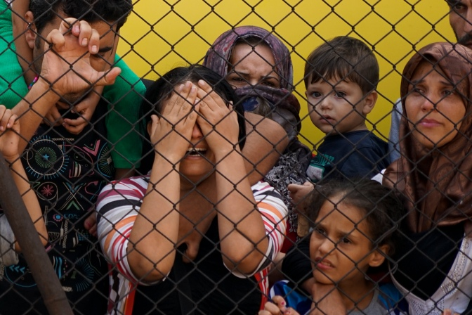 Women and children among Syrian refugees striking at the platform of Budapest Keleti railway station. Refugee crisis. Budapest, Hungary, Central Europe, 4 September 2015.