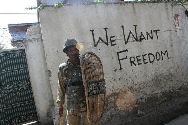 Images from the violent protests in Kashmir. As a part of Hurriyat's 'Quit Kashmir' campaign, graffiti has appeared all over the Valley, as a mark of protest against the Indian rule. These protests have not remained confined to roads but have also reached the cyberspace.
